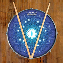 Evolution 3 by Moksha Marquardt Remo-made graphic drum head on snare drum; spiritual drum art