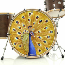 Imperial Shaman by Moksha Marquardt graphic bass face art banner installed on bass drum; visionary drum art