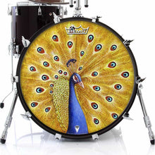 Imperial Shaman by Moksha Marquardt graphic Remo-made drum head on bass drum; yellow pattern drum art