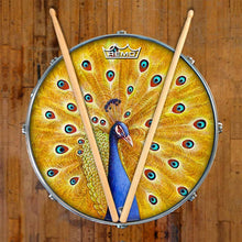 Imperial Shaman by Moksha Marquardt graphic Remo-made drum head on snare drum; bird drum art
