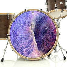 Infinity by Moksha Marquardt graphic bass banner removable drum art installed on bass drum; visionary drum art