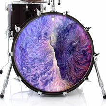 Infinity by Moksha Marquardt graphic drum skin decal on bass drum head; visionary drum art