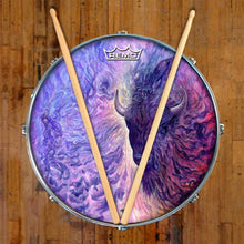 Infinity by Moksha Marquardt graphic Remo-made drum head on snare drum; nature drum art
