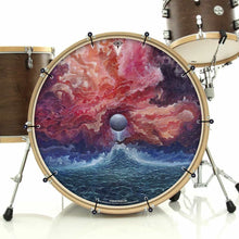 New Moon by Moksha Marquardt graphic removable bass face art banner installed on bass drum; visionary drum art