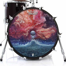 New Moon by Moksha Marquardt graphic Remo-made drum head on bass drum; moon water drum art