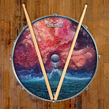 New Moon by Moksha Marquardt graphic Remo-made drum head on snare drum; abstract drum art