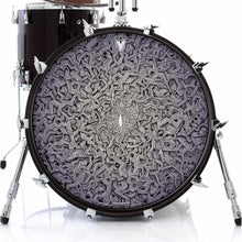 Origin by Moksha Marquardt graphic drum skin on bass drum head; psychedelic drum art