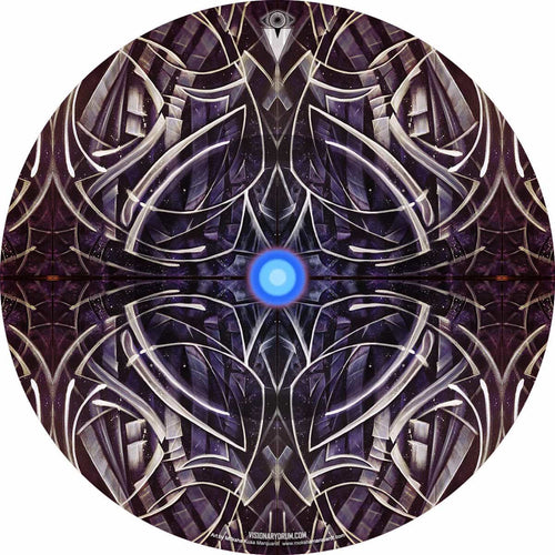 Star Paths by Moksha Marquardt plus graphic drum skin by Visionary Drum equals black and white drum art