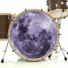 Purple Moon bass face drum banner installed on drum kit; visionary drum art