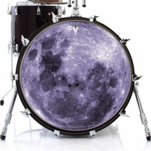Purple Moon graphic drum skin on bass drum by Visionary Drum; outer space drum art
