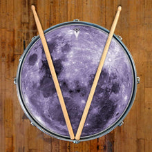 Purple Moon graphic drum skin on snare drum by Visionary Drum; full moon drum art