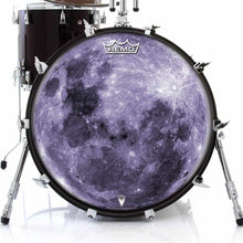 Purple Moon Design Remo-Made Graphic Drum Head on Bass Drum; purple drum art