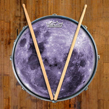 Purple Moon Design Remo-Made Graphic Drum Head on Snare Drum; outer space drum art