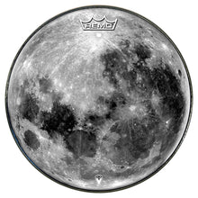 Moon graphic drum head by Visionnary Drum, made by Remo
