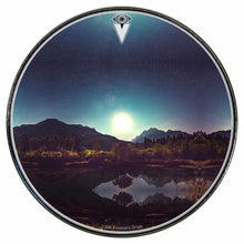 Moonglow graphic drum skin installed on bass drum head by Visionary Drum; spiritual drum art