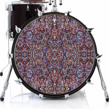 Moving Through Objects design graphic drum skin on bass drum by Visionary Drum; abstract drum art