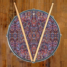 Moving Through Objects design graphic drum skin on snare drum by Visionary Drum; psychedelic drum art