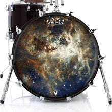 Nebula space Remo graphic drum head on bass drum