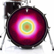 Nebula Spin graphic drum skin on bass drum head by Visionary Drum; pink mandala drum art