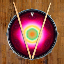 Nebula Spin graphic drum skin on snare drum head by Visionary Drum; spiritual drum art
