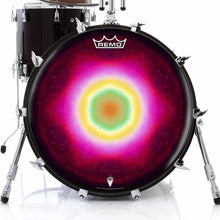 Nebula Spin Design Remo-Made Graphic Drum Head on Bass Drum; mandala drum art