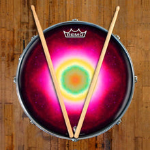 Nebula Spin Design Remo-Made Graphic Drum Head on Snare Drum; outer space drum art