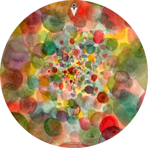 Watercolor rainbow dots graphic drum skin by visionary drum