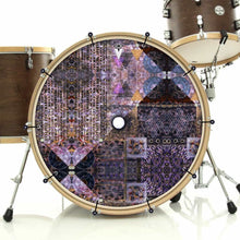 Particle and Wave bass face drum banner installed on drum kit; visionary drum art