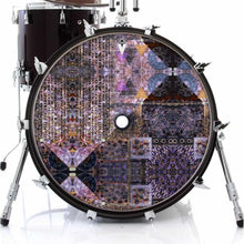 Particle and Wave graphic drum skin on bass drum head by Visionary Drum; black drum art