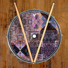 Particle and Wave graphic drum skin on bass snare head by Visionary Drum; abstract drum art