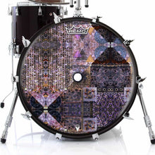 Particle and Wave Design Remo-Made Graphic Drum Head on Bass Drum; black drum art