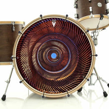 Passage bass face drum banner installed on drum kit; orange pattern drum art