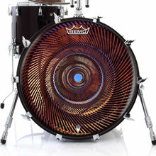 Passage Design Remo-Made Graphic Drum Head on Bass Drum; orange pattern drum art