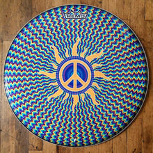 "Psychedelic design with peace sign Remo 22"" bass drum head"