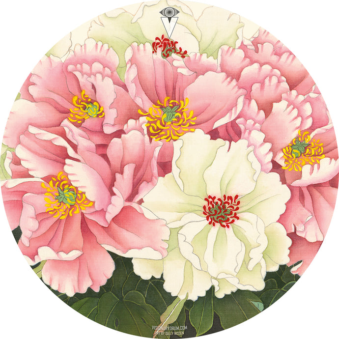 Peonies Graphic Drum Head Art - All Styles and Sizes - Art by Sally Nissen