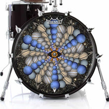 Planetary Eye Design Remo-Made Graphic Drum Head on Bass Drum; visionary drum art