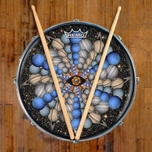Planetary Eye Design Remo-Made Graphic Drum Head on Snare Drum; planets drum art