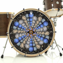 Planetary Eye bass face banner installed on drum kit by Visionary Drum; spherical pattern drum art