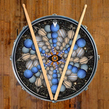 Planetary Eye graphic drum skin by on snare drum head Visionary Drum; circle pattern drum art