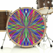 Prism Flipper bass face drum banner installed on drum kit; visionary drum art