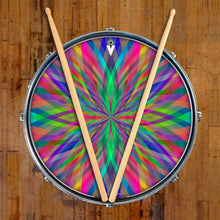 Prism Flipper graphic drum skin on snare drum head by Visionary Drum; psychedelic drum art