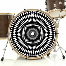 Pulse bass face drum banner installed on drum kit by Visionary Drum; black drum art