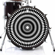 Pulse graphic drum skin on bass drum head by Visionary Drum; black and white drum art