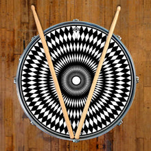 Pulse graphic drum skin on snare drum head by Visionary Drum; mandala drum art
