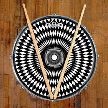 Pulse Design Remo-Made Graphic Drum Head on Snare Drum; psychedelic drum art