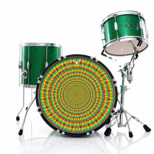 Rainbow Cave graphic drum skin installed on bass drum head and shown on drum kit; green drum art