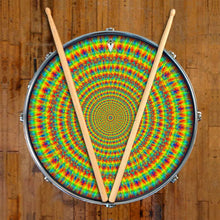 Rainbow Cave graphic drum skin on snare drum head by Visionary Drum; yellow drum art