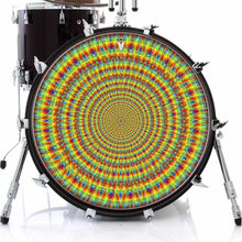 Rainbow Cave graphic drum skin on bass drum head by Visionary Drum; psychedelic drum art