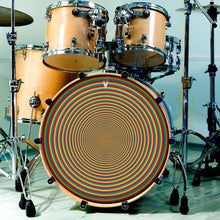 Rainbow Portal graphic drum skin installed on bass drum head and shown on drum kit; circle pattern drum art