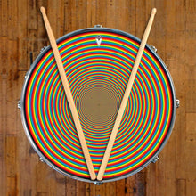 Rainbow Portal graphic drum skin on snare drum by Visionary Drum; geometric drum art